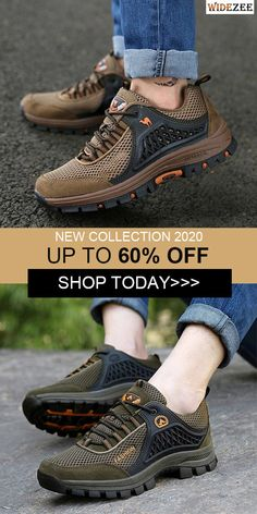Men Mesh Breathable Toe Protecting Lace Up Sneakers Gun, Athletic Shoes, Survival, Lace Up, Craft, Sneakers, Outfits, Collection, Shopping