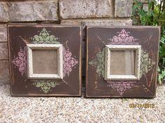 4x4 Distressed Picture Frame, Asphaltum / Spanish Olive / Rose Pink / Linen