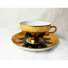 RW Rudolf Wachter Gold Scallops Ovals on Black Demitasse Cup Saucer... ($25) ❤ liked on Polyvore featuring cravecute