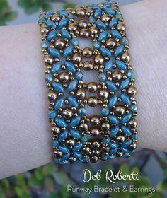 Runway Bracelet & Earrings beaded pattern tutorial by Deb