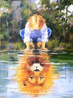 partners, Marilyn Simandle - Zoals water het gezicht weerspiegelt, zo weerspiegelt het hart de mens... Spreuken 27:19 Art Prophétique, Prophetic Art, Lion Of Judah, Lion Art, Art Et Illustration, Christian Art, Painting & Drawing, Lion Painting, Amazing Art