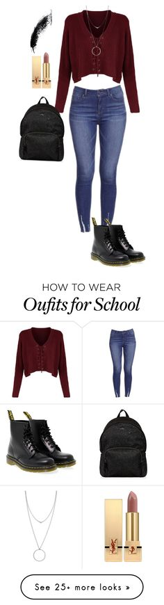 """""""School look"""" by compassstyling on Polyvore featuring Dr. Martens, Botkier, Hogan and Yves Saint Laurent"""