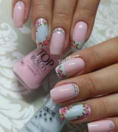 Pretty Nail Art, Cute Nail Art, Beautiful Nail Art, Cute Nails, Square Nail Designs, Flower Nail Designs, Diy Nail Designs, Classic Nails, Floral Nail Art
