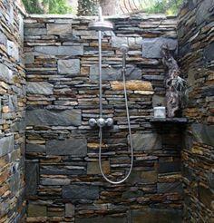 Love this outdoor stone shower enclosure! Home Design, Spa Design, Design Ideas, Layout Design, Outside Showers, Outdoor Showers, Outdoor Spaces, Outdoor Living, Outdoor Shower Enclosure