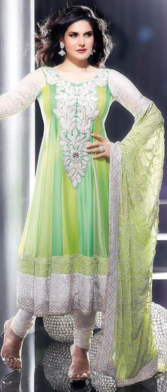 Shaded Green Satin Chiffon Churidar Kameez @ $178.87 | Shop @ http://www.utsavfashion.com/store/sarees-large.aspx?icode=kds170
