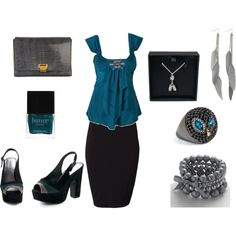 teal, black and gray date night, created by melinda-gould-fontana