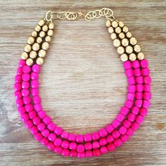 Hot Pink and Gold Statement Necklace on Etsy, Gorgeous and perfect addition to brighten up any outfit