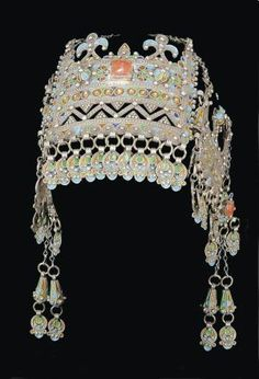 Morocco   Headdress; silver filigree work, coral and glass insets, enamel   ca. 19th century, Anti Atlas region   Sold by dorothy