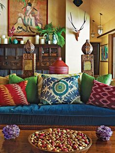 Maybe I should freak out my blue couch with some bold pillows!