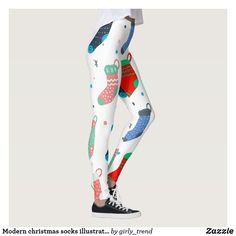 Discover Pattern leggings at Zazzle! Workout Leggings, Women's Leggings, Pattern Leggings, Christmas Leggings, Modern Christmas, Socks, Sweatpants, Illustration, Shopping