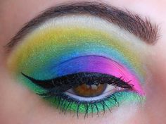 Rainbow, Sugarpill Eye   Makeup colorful, pink, purple, blue, green, yellow, white. Cat eye liner  Become a fan: www.facebook.com/mostbabealicious
