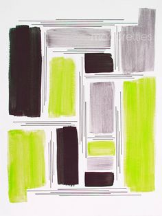 Lime Black & Silver Abstract Print 9x12 print by modpretties, $30.00