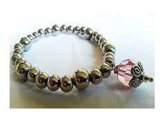 Silver Plated Bead  And Pink Swarovski Crystal Pendant - Beaded Jewellery