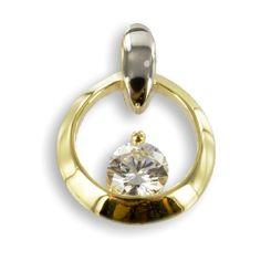 Anhänger teilrhodiniert mit Zirkonia und Gold 333 von Colmado Geschenke Shop auf DaWanda.com