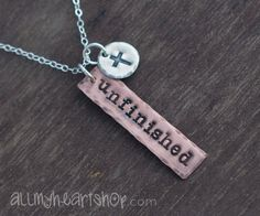 Unfinished Christian Hand Stamped Necklace - Christian Jewelry - Cross Necklace via Etsy