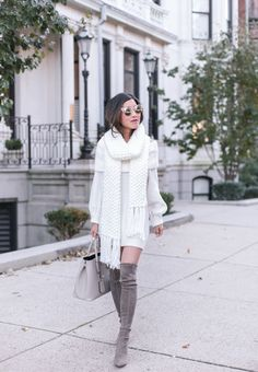 Sharing a winter white look in this cozy cream sweater dress + chunky knit scarf Cream Sweater Dress, Sweater Dress Outfit, Sweater Dresses, Casual Fall Outfits, Simple Outfits, Gray Outfits, Moda Outfits, Thanksgiving Outfit Women, Chunky Knit Scarves