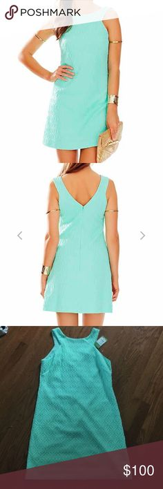 Poolside Blue Retro Knit Jacquard Shift Dress See pictures for details. Brand new, never worn. Purchased to wear to a friend's bridal shower but went with another option. Offers and bundles are welcome. 🚫 Posh only! Lilly Pulitzer Dresses Mini