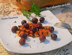 Zucca grigliata con olive una ricetta contorni facile veloce ed economica ricetta vegetariana vegana e per intolleranti da preparare anche in anticipo