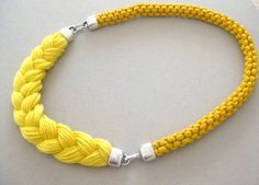 Handmade Sunny Spring Yellow Braided Cotton Rope and Yarn Statement Necklace