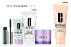 Receive up to a 5-piece Clinique gift with any $60 purchase direct from Clinique. Clinique Gift, Clinique Moisture Surge, Overnight Mask, Cosmetic Bag, Mascara, The Balm, Moisturizer, Nail Polish, Soap