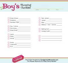 Boys shopping checklist - for back to school shopping or fall/winter clothes shopping #consignment