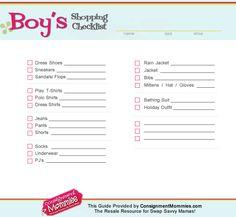 boys shopping checklist - for back to school shopping or spring clothes shopping #consignment