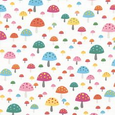 Timeless Treasures House Designer - Happy Campers - Mushrooms in White