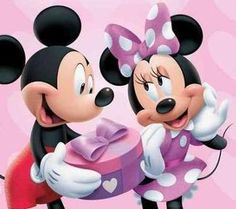 Mickey & Minnie about to share a special treat.