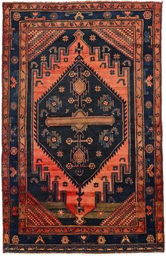 Navy Blue 4' 11 x 7' 5 Zanjan Persian Rug | Persian Rugs | eSaleRugs