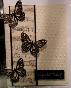 I would make the sentiment panel kraft, with a black border & . I would make the sentiment panel kraft, with a black border & stamp it in black, - Paper Cards, Diy Cards, Butterfly Cards, Butterfly Music, Diy Butterfly, Musical Cards, Music Paper, Embossed Cards, Sympathy Cards