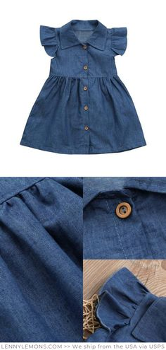Her little uniform to take on the world Denim style dress a smile and a dose of swagger lets do this Denim Dress for your baby girl. Great Gift for girls . Lenny Lemons - Baby Girl Dress - Ideas of Baby Girl Dress Baby Outfits, Little Girl Dresses, Kids Outfits, Girls Dresses, Party Dresses, Denim Fashion, Kids Fashion, Fashion Ideas, Fashion Trends