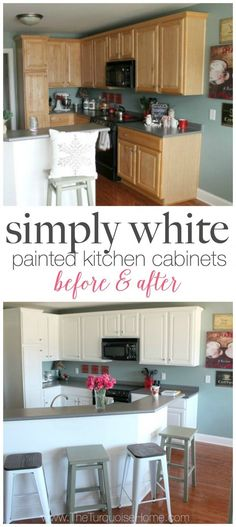 DIY Painted Kitchen Cabinets with Simply White from Benjamin Moore - before and after | Details at TheTurquoiseHome.com
