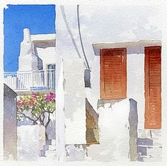 greek street 3 by Thomas W. Schaller Watercolor ~ 10 inches x 10 inches