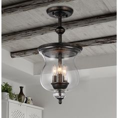 Madigan 3-light Clear Glass 10-inch Antique Pendant Lamp