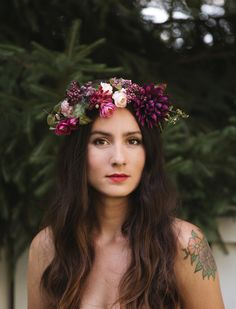 jemma winter crown- burgundy and purple flower crown
