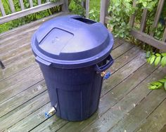 Picture of Roughneck Rain Barrel Unless you have a downward slope to your garden the hose bib at the bottom doesn't flow very well. Also I'd do a less expensive PVC pipe overflow at the top.