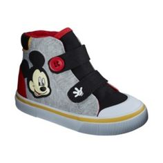 Target-Toddler Boy's License Mickey Mouse Hi-Top Shoe - Gray (He does love his Mickey Mouse)