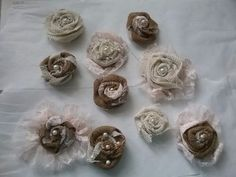 Lot 10  shabby to chic burlap and lace flowers with pearl centers OOAK pink  #Handmade