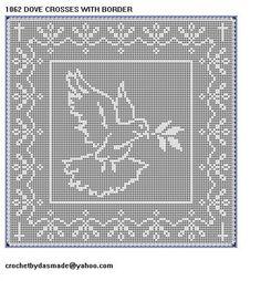 1062 Dove with crosses Filet Crochet Doily Mat table Afghan Pattern   CROCHETBYDASMADE - Patterns on ArtFire