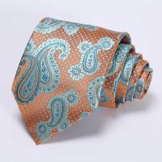 Handmade Silk Paisley Woven Necktie Handkerchief Set.