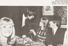 9th April 1964. Actress Hayley Mills smiles for the camera while George chats with Paul and Jane Asher at the Pickwick Club.