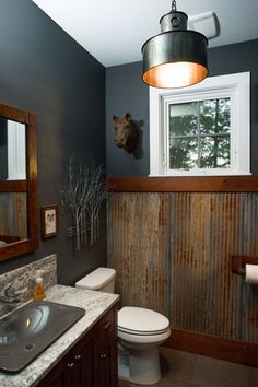 half bathroom ideas - Want a half bathroom that will impress your guests when entertaining? Update your bathroom decor in no time with these affordable, cute half bathroom ideas. Man Bathroom, Bathroom Interior, Bathroom, Bathroom Colors, Painting Bathroom, Downstairs Bathroom, Bathrooms Remodel, Mens Bathroom Decor, Man Cave Bathroom