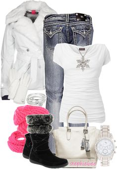 """""""Comfy & Warm"""" Miss me's, white coat and snowflake necklace! Cute black boots, with a touch of pink, scarf!"""