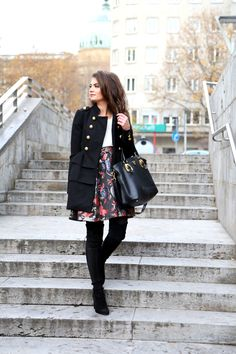 easy and elegant city look - FashionHippieLoves. White blouse+black floral skirt+black over the knee boots+balck ruffle coat+black handbag. Fall Everyday Dressy Outfit 2016