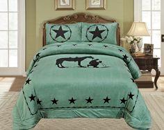 Western Turquoise Praying Cowboy Horse Star Blanket Borrego Fleece - 3 Piece Set