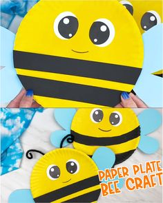 If you want an easy bumble bee craft for kids to make, this paper plate bee is perfect! It's easy enough for preschoolers, kindergarten and elementary children, plus it comes with a free printable template. Make this cute insect craft idea today! Bee Crafts For Kids, Fathers Day Crafts, Toddler Crafts, Crafts To Do, Art For Kids, Arts And Crafts, Bees For Kids, Stick Crafts, Jar Crafts