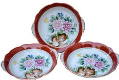 3 Vintage Floral Bowls Occupied Japan Bowls Jewelry by SimplyChina
