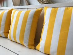 This YACHT pillows can be used in- and outdoor. Due to the pleasant feel of the fabric, you would hardly suspect that they were made for outdoor use. Also for use on the high seas. Outdoor Cushions, Fabrics, Textiles, Indoor, Throw Pillows, Yellow, Classic, Shop, Design
