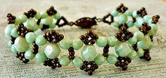 Linda's Crafty Inspirations: Bracelet of the Day: Crystal Picot Bracelet - Mint Green
