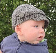 Crochet Hat, Newborn Hat, Crochet Newsboy Hat, Crochet Baby Boy Hat, Photo Prop (more colors). $15.00, via Etsy.